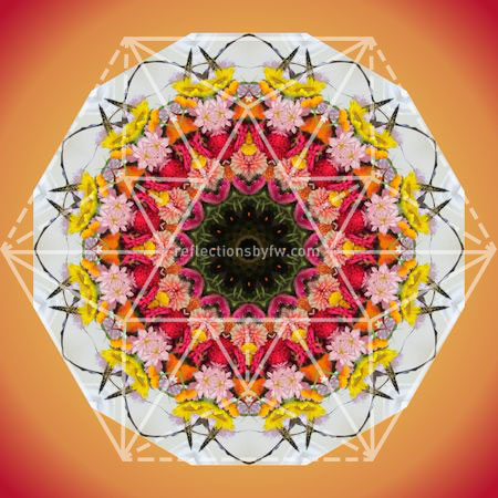 Red, Pink & Yellow Mantel Bouquet Mandala